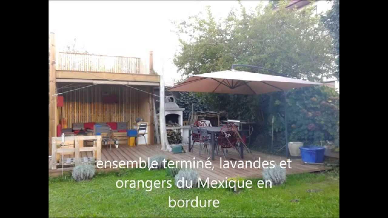 making of cabane en palette et terrasse youtube. Black Bedroom Furniture Sets. Home Design Ideas