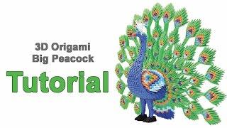 ORIGAMI 3D BIG PEACOCK TUTORIAL