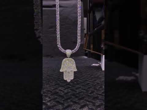 Full Size Hamsa Pendant w/ Diamond Tennis Chain - Sterling Silver