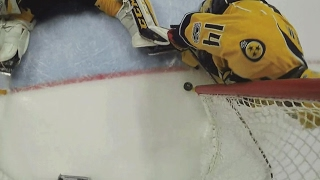 Ekholm crashes into net just in time to save goal