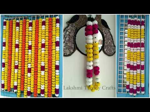 Multi Color Woolen Marigold Flower Garland For Decoration