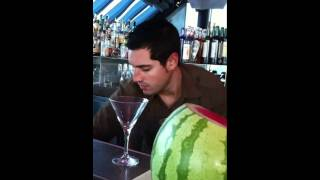 Making A Watermelon Martini At Eclipse Bar, W Hotel, Barcel