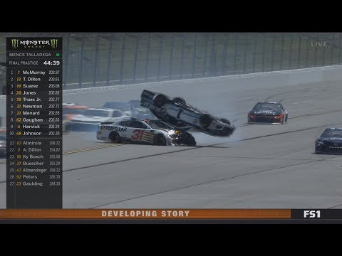 Monster Energy NASCAR Cup Series 2018. FP2 Talladega Superspeedway. Jamie McMurray Big Crash Flips