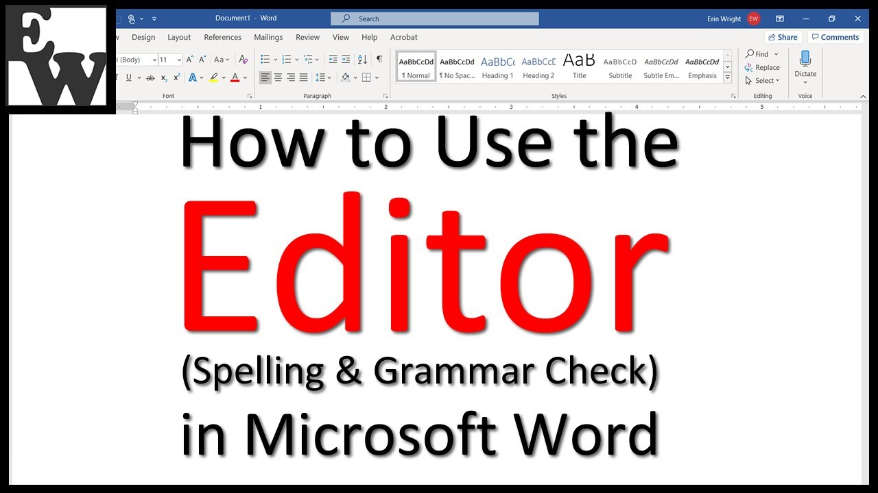 How to Use the Editor in Microsoft Word (Spelling & Grammar Check)