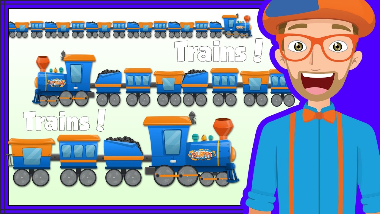 Educational Trains for Kids | Blippi Train Song and more!