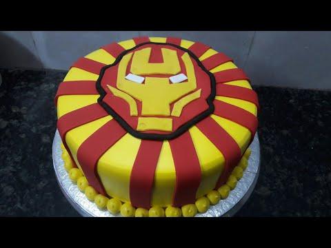Iron man cake pineapple flower fancy   cake making by New Cake Wala