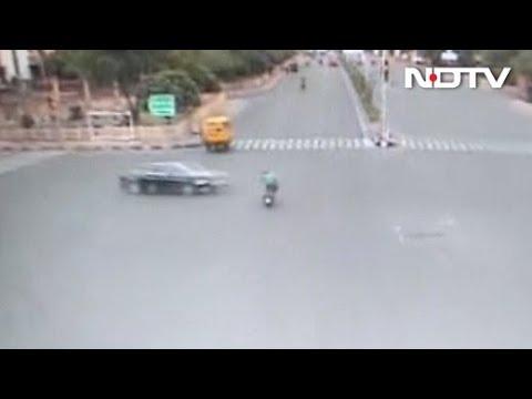 Man Flung 30 Feet As Speeding Audi Rams Bike At Intersection In Jaipur