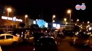 لحظة تدافع المواطنين للخروج من مول العرب للاشتباه في قنبلة