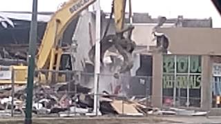 Building demolition with heavy equipment