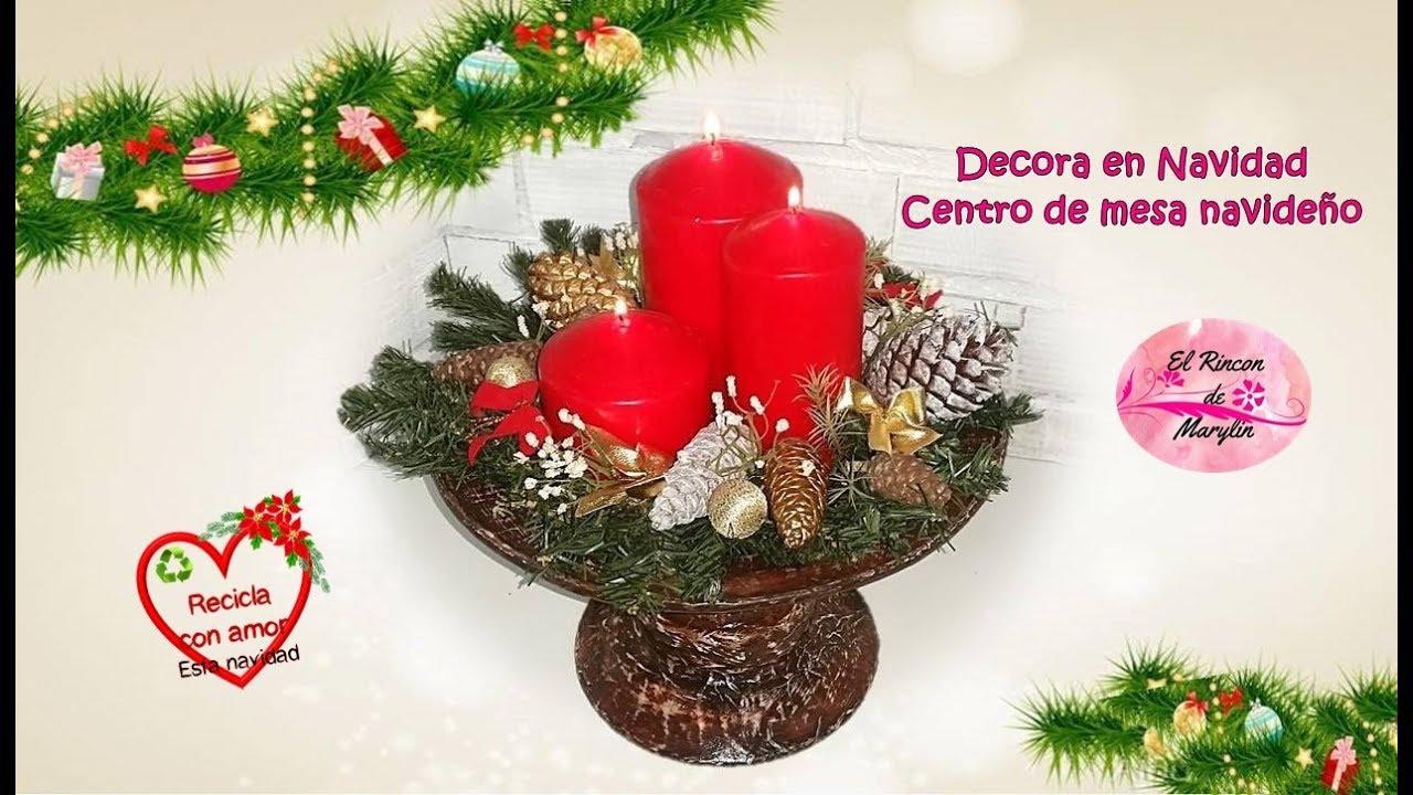 Decora en navidad centro de mesa rustico navide o - Youtube centros de mesa navidenos ...