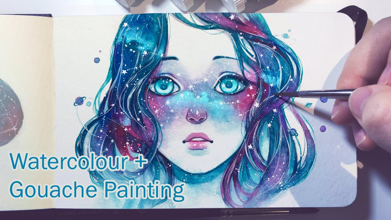 Starred Freckles – Watercolor + Gouache Painting Timelapse