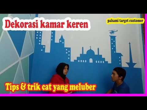 cat kamar motif gedung biru dekorasi simple keren - youtube