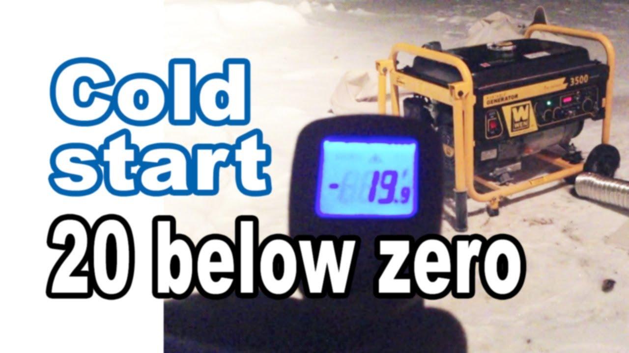 Cold start 20 below! Funny way to start a frozen gas engine (Wen generator)