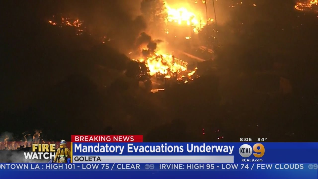 Fast-Moving Brush Fire Rips Through 20-Plus Buildings In Goleta; Thousands ...