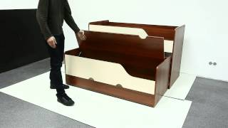 видео Выдвижная кровать: (7 фото), подиум, для двоих детей, детская для троих, на рельсах