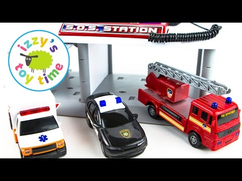 Hot Wheels Fire Trucks Ambulances and Police Cars | Fast Lane SOS Station | Fun Toy Cars for Kids