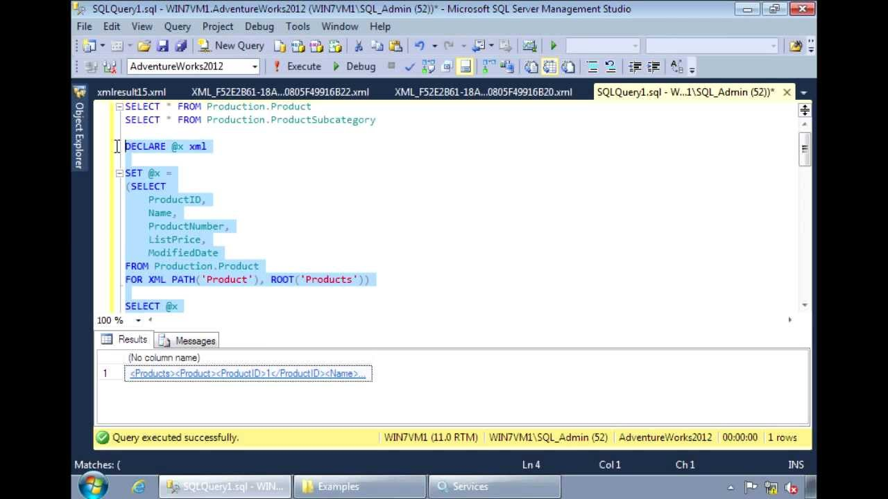sql server 2012 generating xml from sql server tables youtube