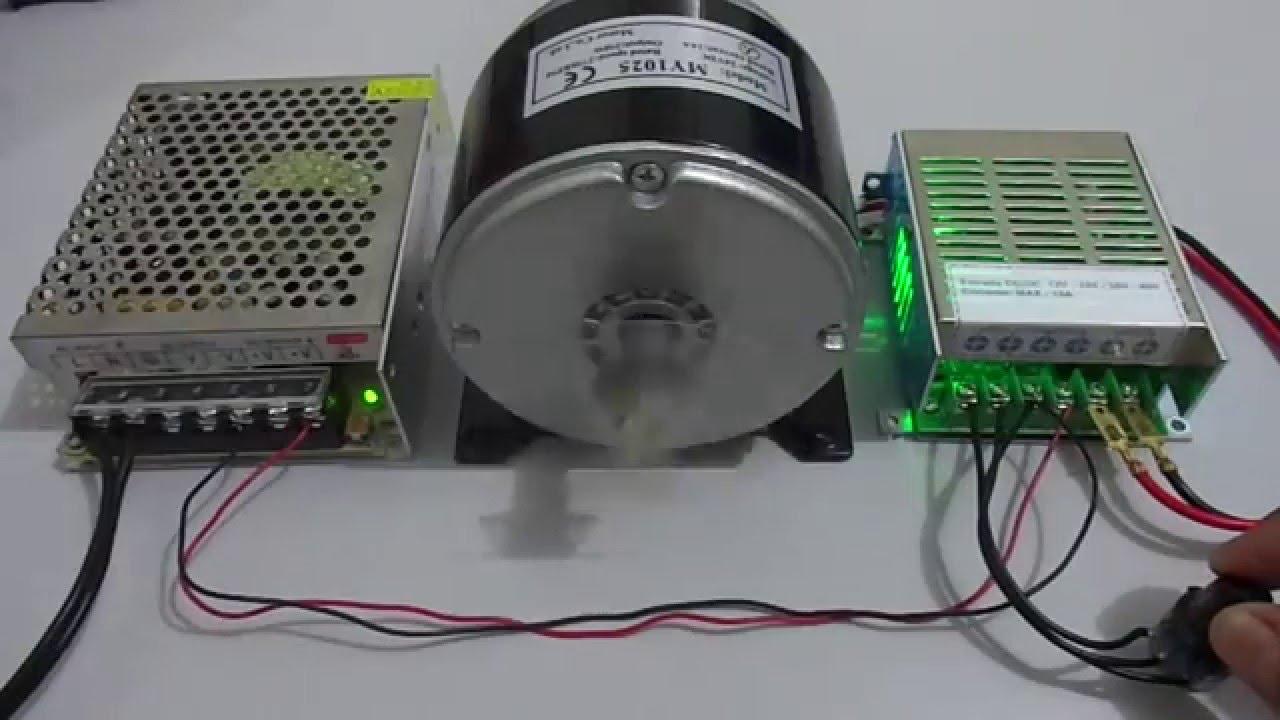 Motor Dc 250w Com Variador De Velocidade 15a - Teste