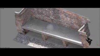 Scansione 3D di una panchina in muratura