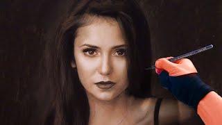 Drawing Nina Dobrev - Colored pastel pencil