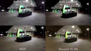 GoPro Hero 5 - SJ6 Legend - SJ5000X Elite - M20 - Xiaomi Yi 4K - Eken H8 Pro Comparison test Night 1