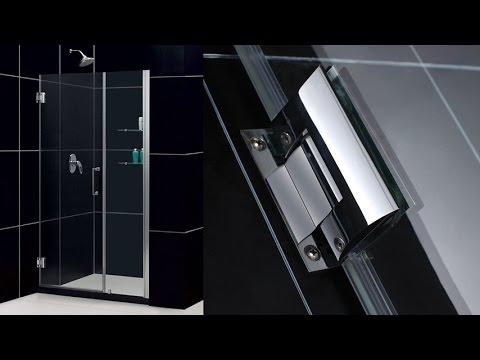 dreamline unidoor inch frameless hinged shower door in chrome with 2 integrated glass shelves