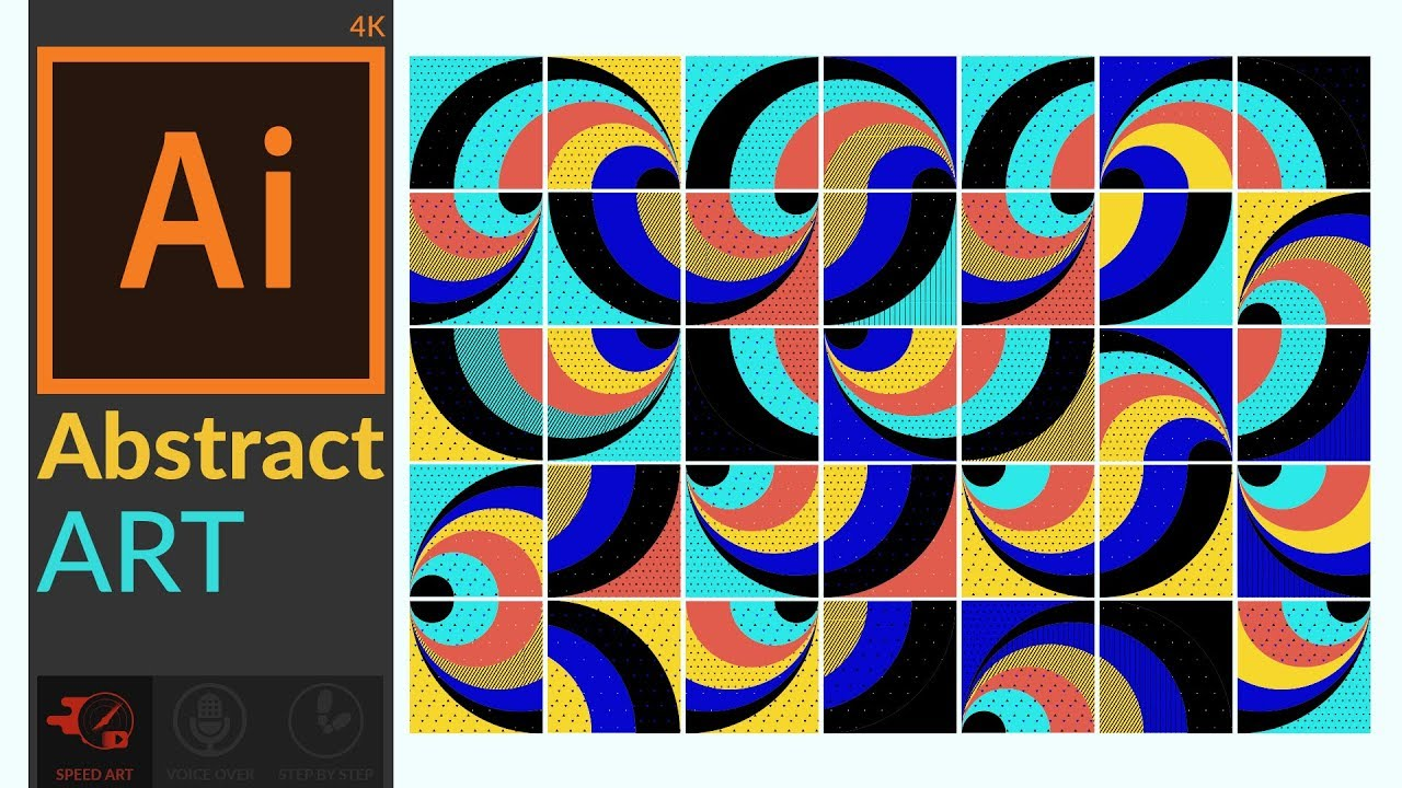 Abstract Artwork With Basic Shapes In Adobe Illustrator Cc