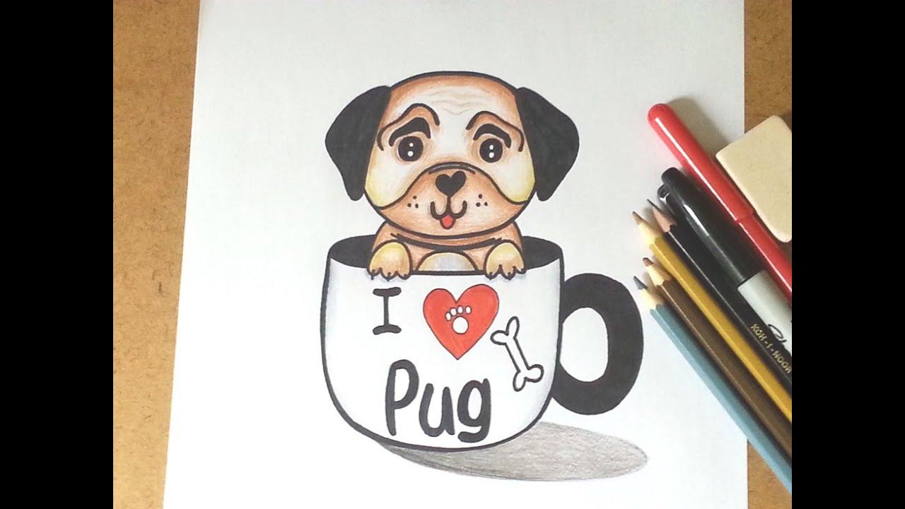 Como Desenhar Um Cachorrinho Pug Kawaii Na Xícara