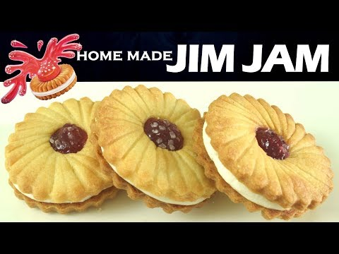 Home - made JIM JAM Treat  biscuits| Jam & Cream filled Butter cookies| Jam cookies| Yummylicious