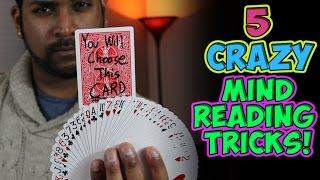 5 CRAZY Mind Reading Card Tricks Tutorial!