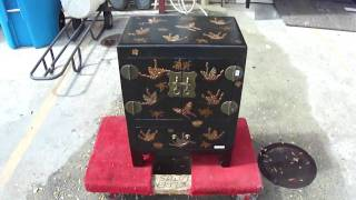 Black Leather Butterfly Nightstand End Table Wk287