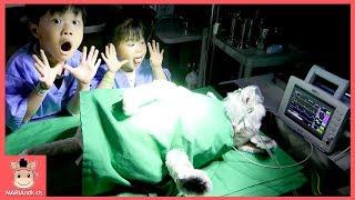 의사 된 미니? 진짜 수술하다! 강아지 다리 다쳤어요 ♡  의사놀이 병원놀이 리쏘빌 키즈카페 테마파크 직업체험 hospital | 말이야와아이들 MariAndKids