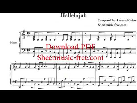 photo regarding Hallelujah Piano Sheet Music Free Printable identified as Hallelujah Piano Sheet Audio Leonard Cohen - YouTube