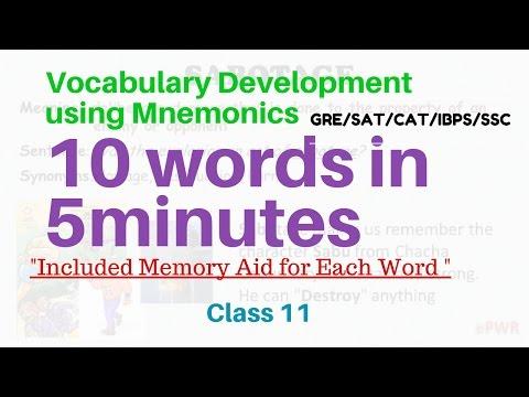 English Vocabulary Building Using Mnemonics | GRE GMAT CAT