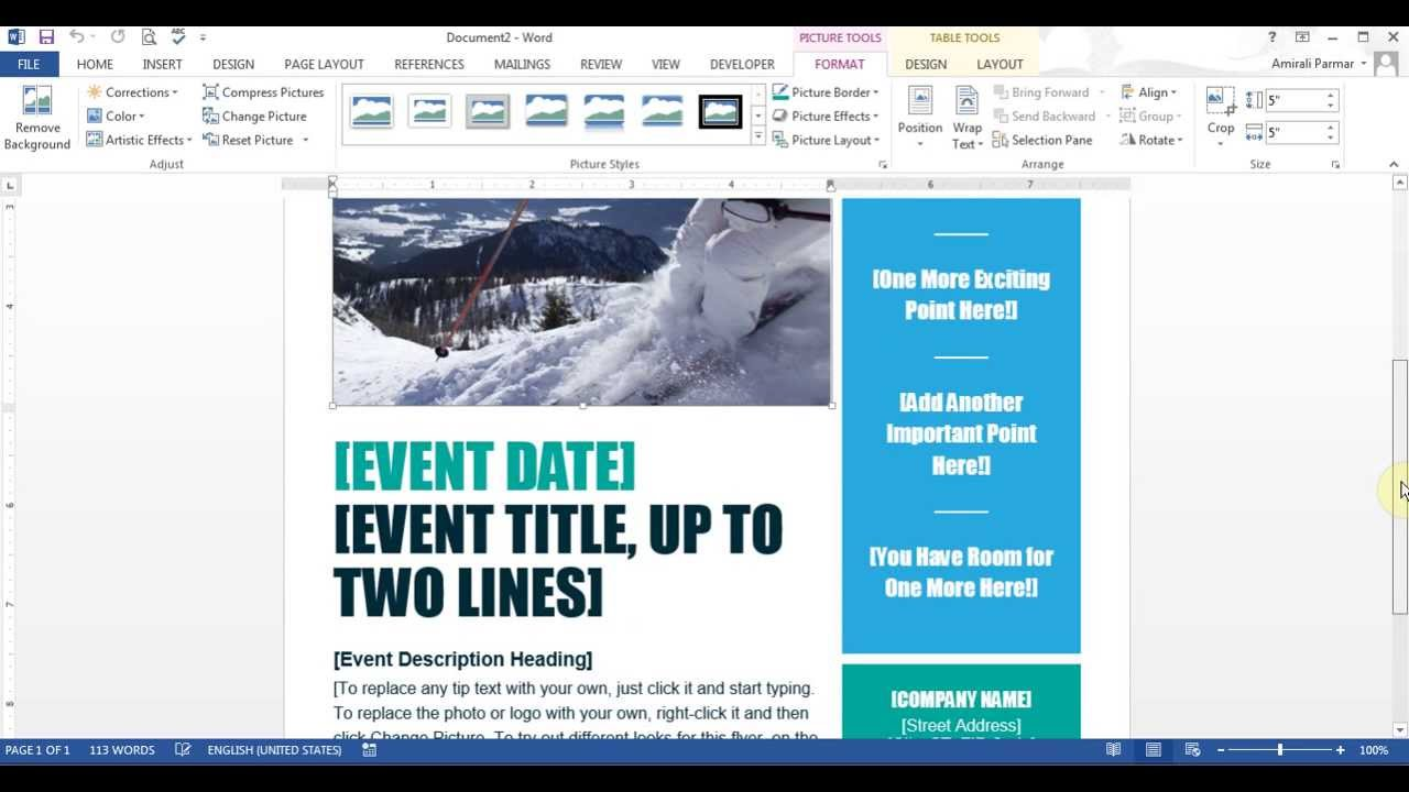 Microsoft Word - Create Flyer - YouTube