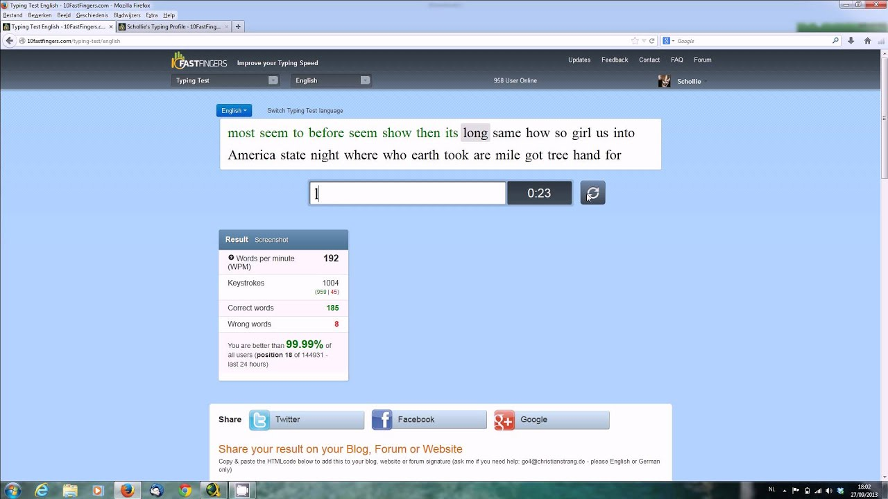 10fastfingers Typing Test English 200 Wpm Youtube
