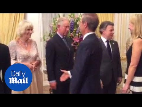 Charles and Camilla greet guests at a State Dinner in Bogota - Daily Mail