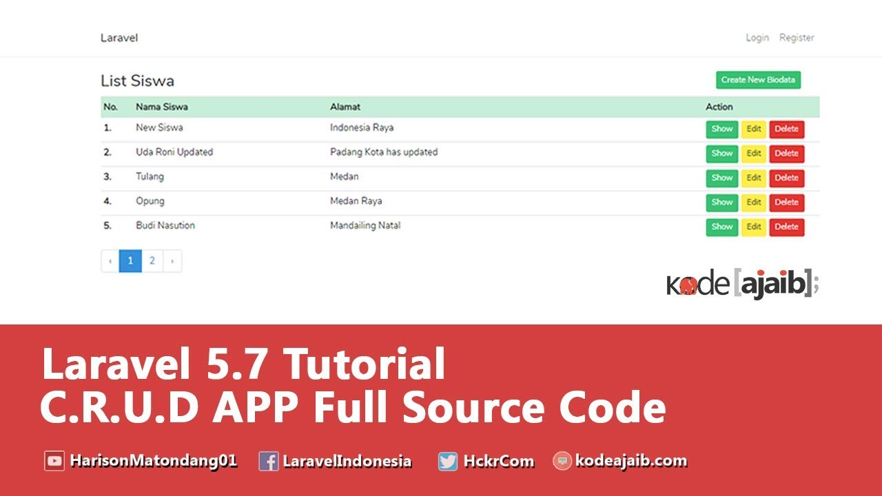 laravel 5 7 Tutorial : C R U D Operation with Pagination from Scratch
