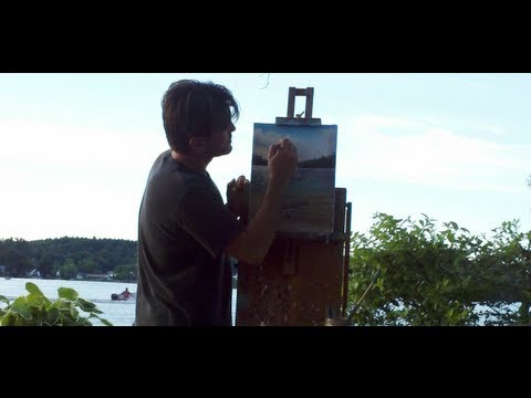33. Landscape painting; Plein air oil painting on the lake.