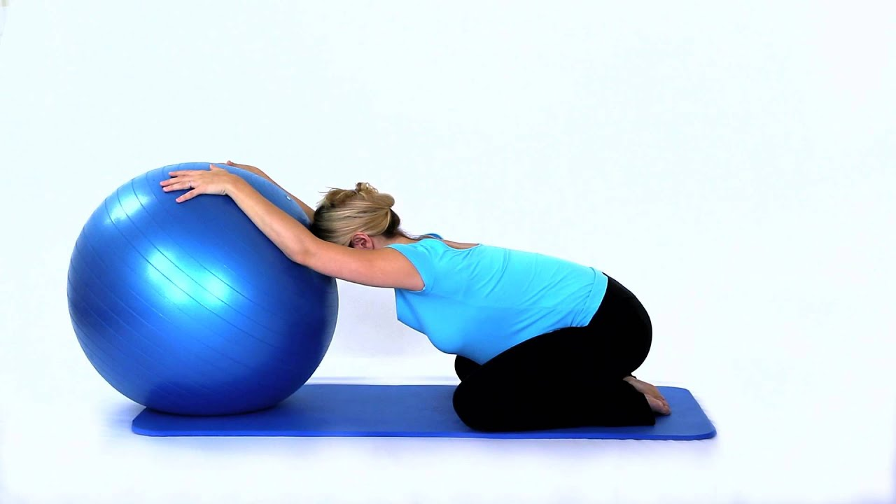 Pregnancy Exercises - Yoga Shoulder Stretch with Swiss Ball - YouTube
