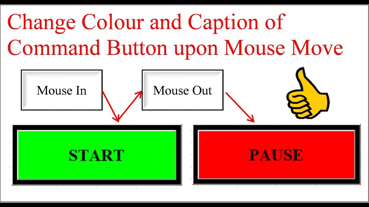 Excel VBA - Change color and caption of command button when mouse move over