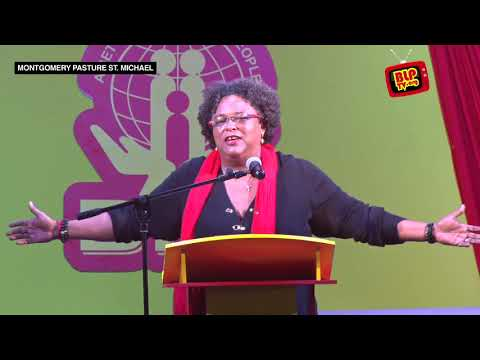 Mia Amor Mottley at the BLP Public Meeting at Montgomery Pasture, Cave Hill