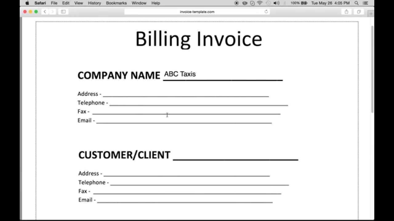make an invoice on word