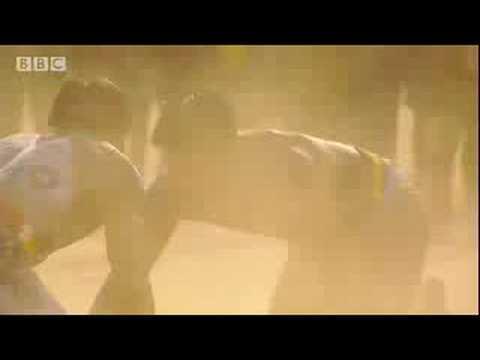 Athlete vs tribal warrior in gladiator-style fight - BBC
