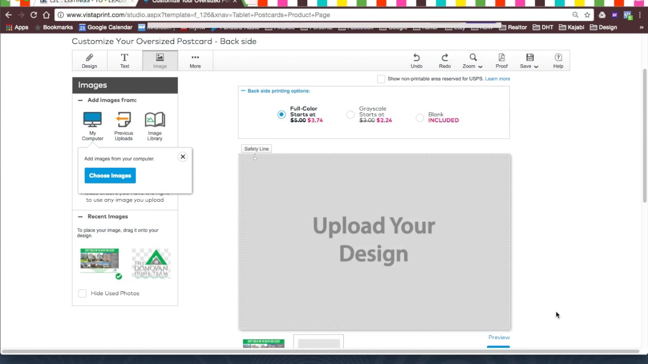 How to Upload a Complete Design to Print and Mail using Vistaprint ...