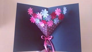 母亲节创意立体花朵折纸贺卡,打开有一束漂亮的花,简单易学有心意