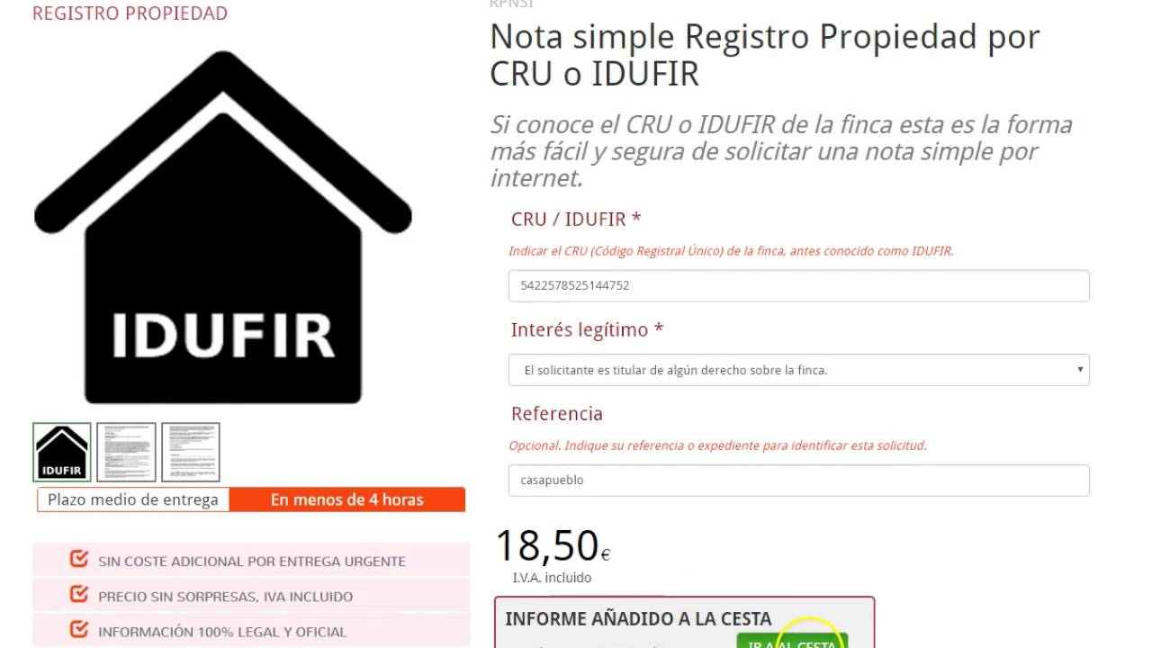 C mo solicitar una nota simple registro propiedad por cru - Solicitar nota simple registro propiedad gratis ...