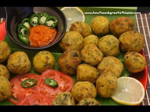 Ethiopian Food - Potato & Spinach collards fried balls Recipe - Vegan fasting Amharic English