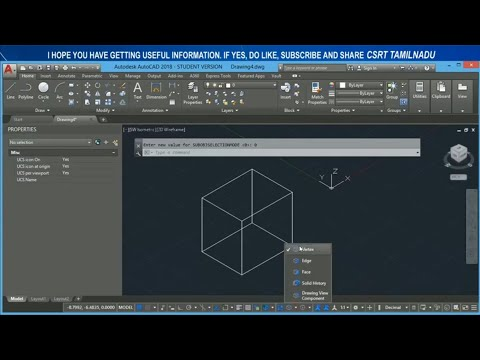 98 (STATUS BAR) (SUBOBJSELECTIONMODE) FILTERS OBJECT SELECTION OPTION AUTOCAD