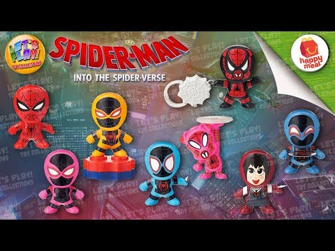2018 Spider-man: Into The Spider-Verse McDonald's Happy Meal Complete Set Of 8 Toys